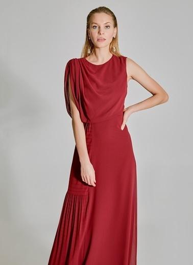 People By Fabrika Pilise Detaylı Elbise Bordo
